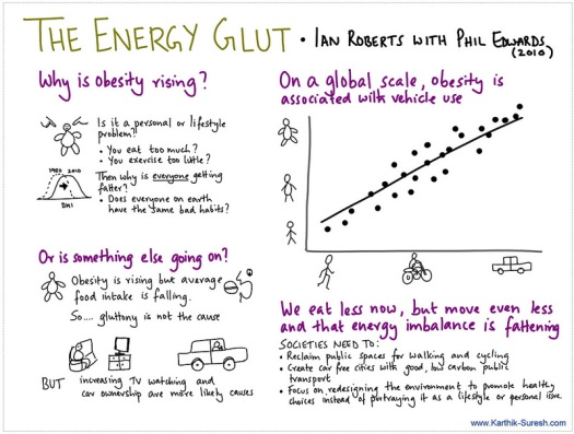 Sketchnote for book The Energy Glut: The Politics of Fatness in an Overheating World. By Ian Roberts with Phil Edward. 2010.